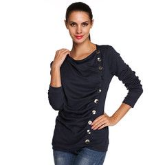 Stylish ANGVNS Ladies Women Pleated O-neck Long Sleeve Solid Top Blouse