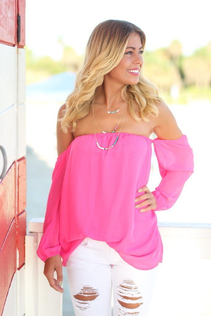 Hot Pink Off Shoulder Long Sleeve Top