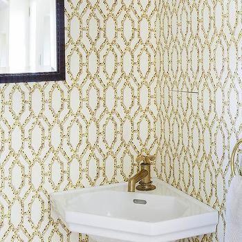White and Yellow Powder Room Design