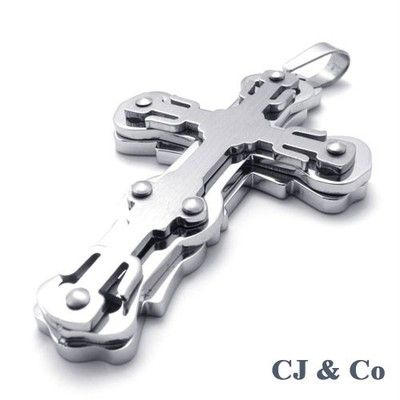 Silver 316L Stainless Steel Cross Men Pendant Necklace - $70nok