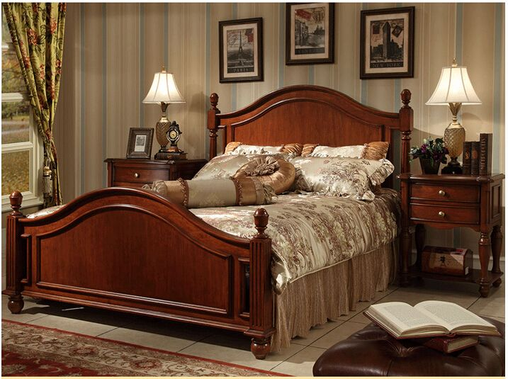 British Rural Style Solid Wood Frame Double Bed B-230 - Buy Wood ...