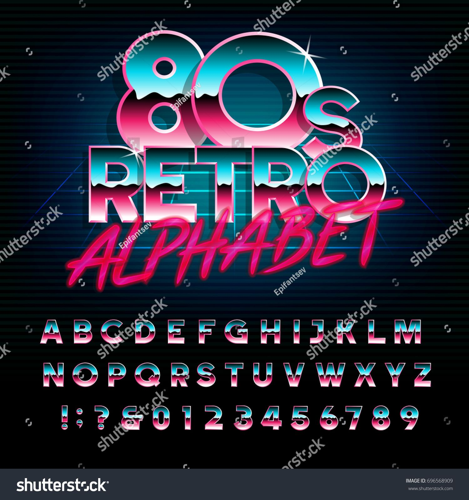 80 S Retro Alphabet Font Metallic Effect Type Letters And Numbers Vector Typeface For Your Design Font Metallic Fonts Alphabet Lettering Alphabet Lettering