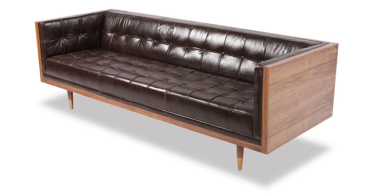 Box Sofa Vintage Leather Leather Sofa Mid Century Modern Furnishing Upscale Furniture