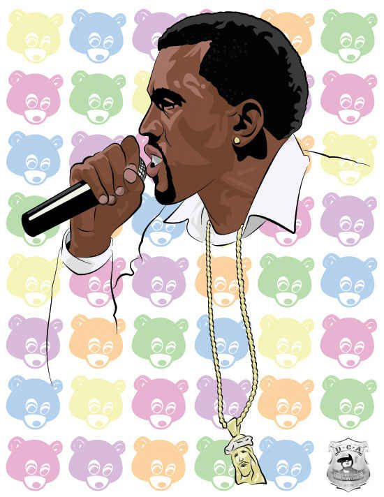 The 50 Coolest Pieces Of Art Inspired By Kanye West Kanye West Tattoo Art Bear Art