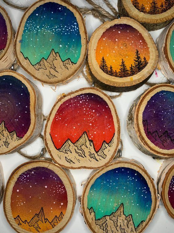 Galaxy Ornament, Holz Scheibe Ornament, Holz Ornam