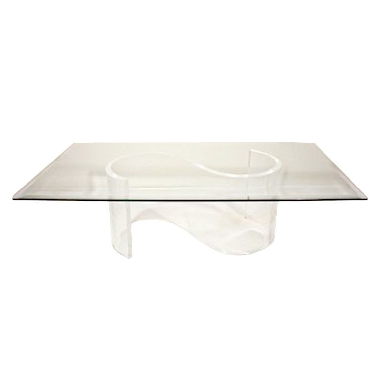 Vintage S Shaped Lucite Base Coffee Table With Glass Top From A Unique Collection Of Antique And Modern Coffee And Cocktail Tables At Http Www 1stdibs Com