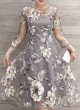 Vestidos Chic en Floral 2018 pierna Vestido 34 Mangas A media fp0nUwqdfr
