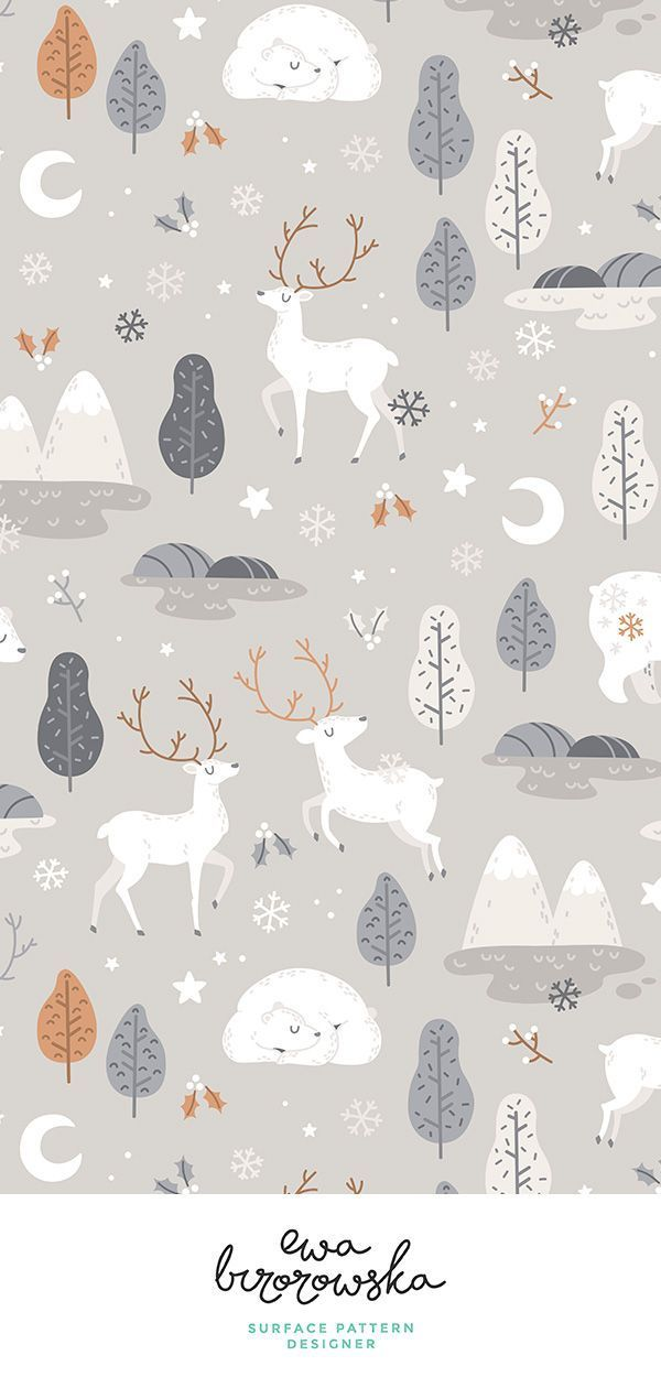 Colorful fabrics digitally printed by Spoonflower - Winter night - grey and beige - BIG