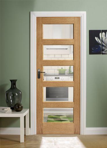 magnet trade contemporary oak 5 panel pre glazed. Black Bedroom Furniture Sets. Home Design Ideas