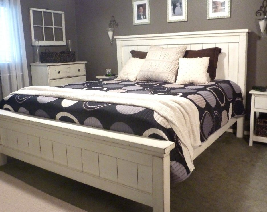Bedroom White Polished Wooden Bed Frame With Black And White Dotty Bedding Shet And White Blanket Plus White King Farmhouse Bed Diy King Bed Farmhouse Bedding