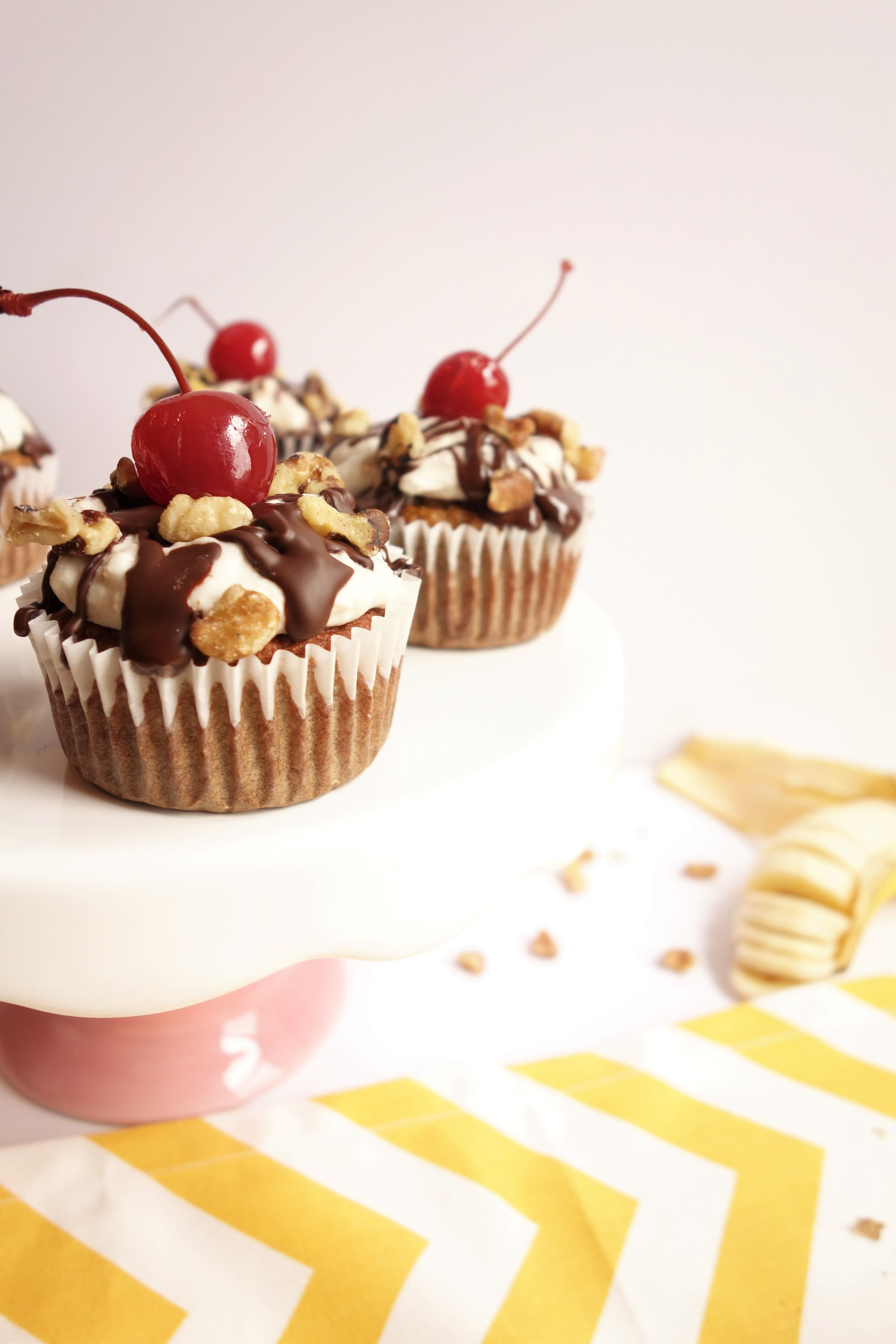 Paleofriendly banana split cupcakes made with simple