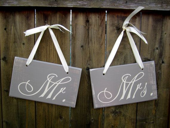 MR & MRS signs - 6 x 10 Wooden Wedding Sign 2pc Set Double by JolieMaeCollections, $30.00