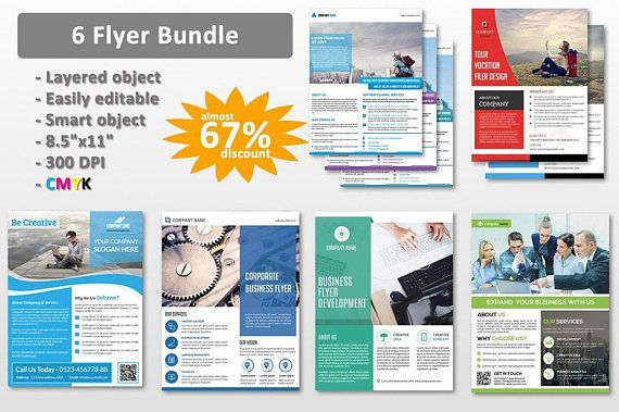 6 Corporate Flyer Bundle Business Flyer Template Ms Word And