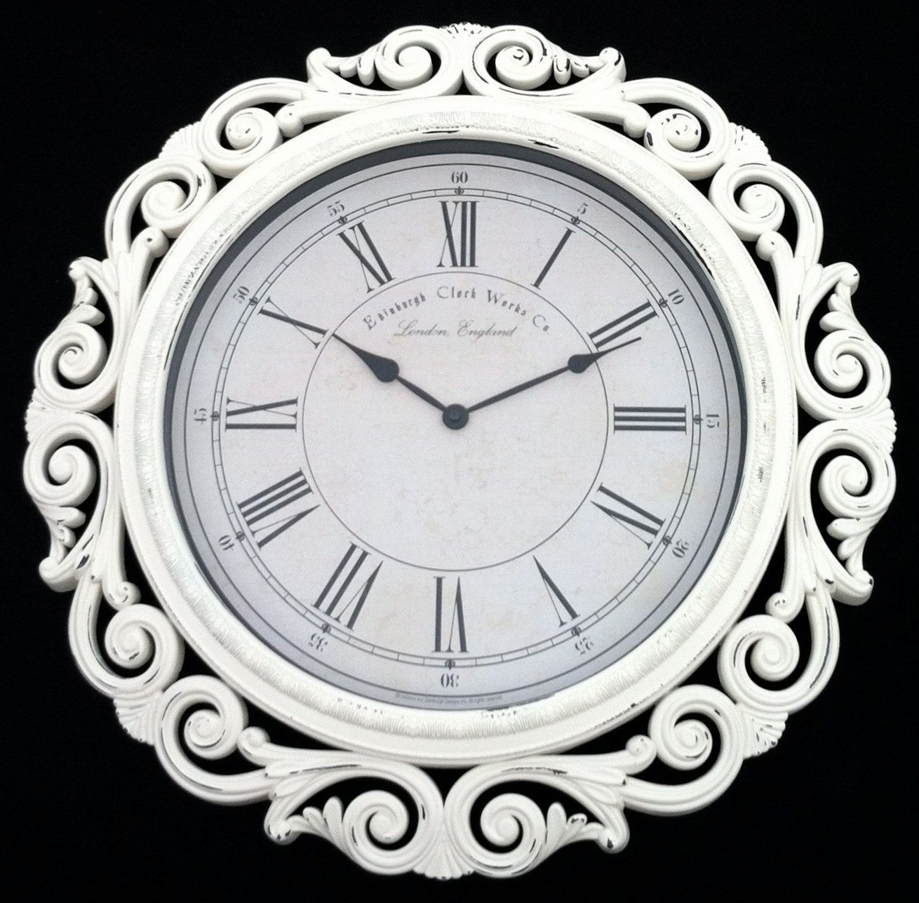 Extra large baroque wall clock 23 wide white cottage shabby extra large baroque wall clock 23 wide white cottage shabby chic french amipublicfo Gallery