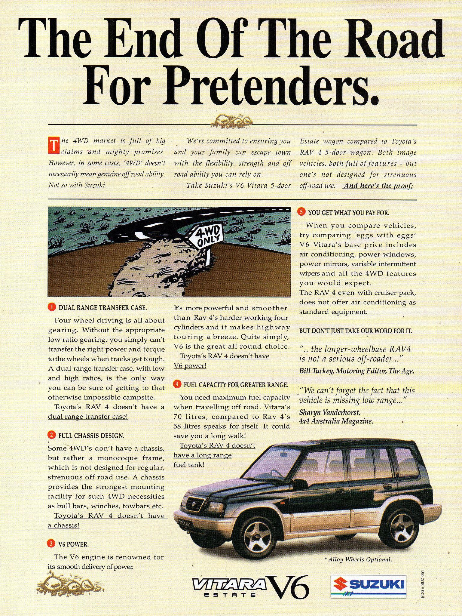 1995 Suzuki Vitara V6 4wd Estate Aussie Original Magazine Advertisement Suzuki Australian Cars Japanese Cars