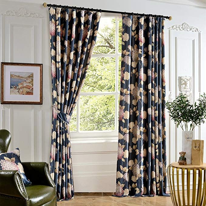 Anady Top Blue Curtains Flower Drapes 2 Panel Soft Decro Short