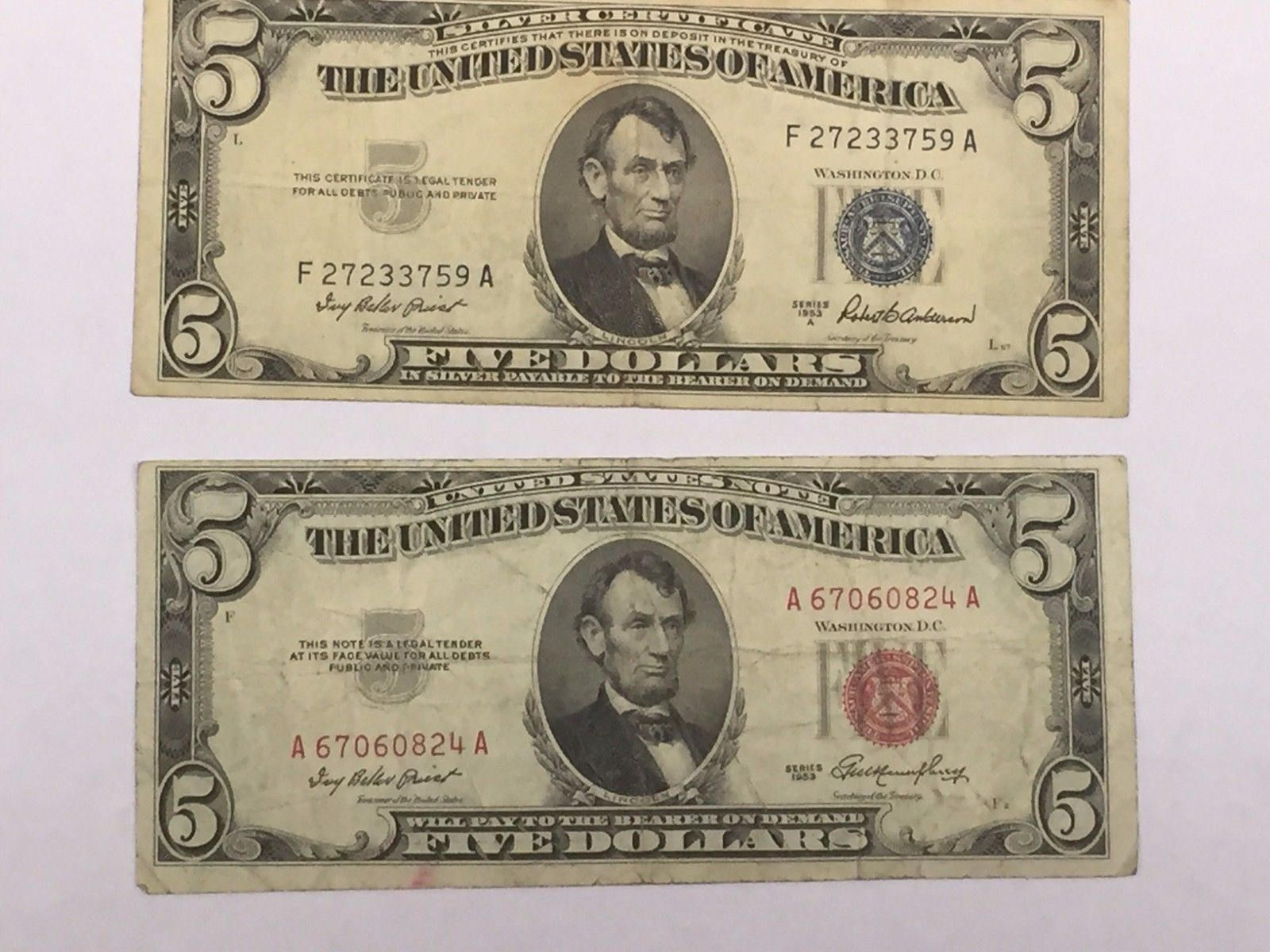 1 And 5 Dollar Blue Seal Silver Certificates 2 And 5 Dollar Etsy