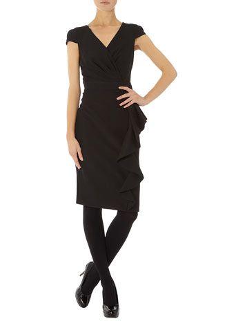 Black Side Ruffle Dress Woman Fashion Pinterest Ruffle Dress