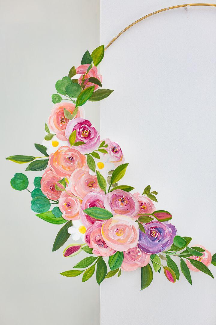 Photo of Craftberry Bush   Painted Paper Rose Modern Wreath   www.craftberrybus…