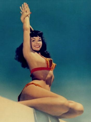 Bettie Page, photographed by Bunny Yeager in Florida. I have an original postcard from this series.