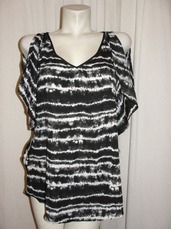 Express Tunic Top Black White Polyester Flutter Slit Sleeve Strap Back Size M…