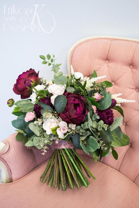 Bouquet de mariée, fard à joues rose, vin de Marsala, Bordeaux, blanc et Ivoire fleur artificielle et fausse verdure mariage Bouquets