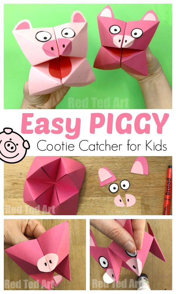 Pig Cootie Catcher Craft for Kids. Easy Paper Pig Crafts for Kids. Year of the Pig. How to make a Cootie