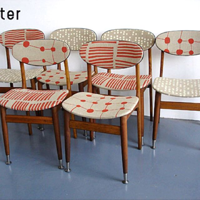 Mid Century Modern Chairs Recovered With Fun Fabric Retro