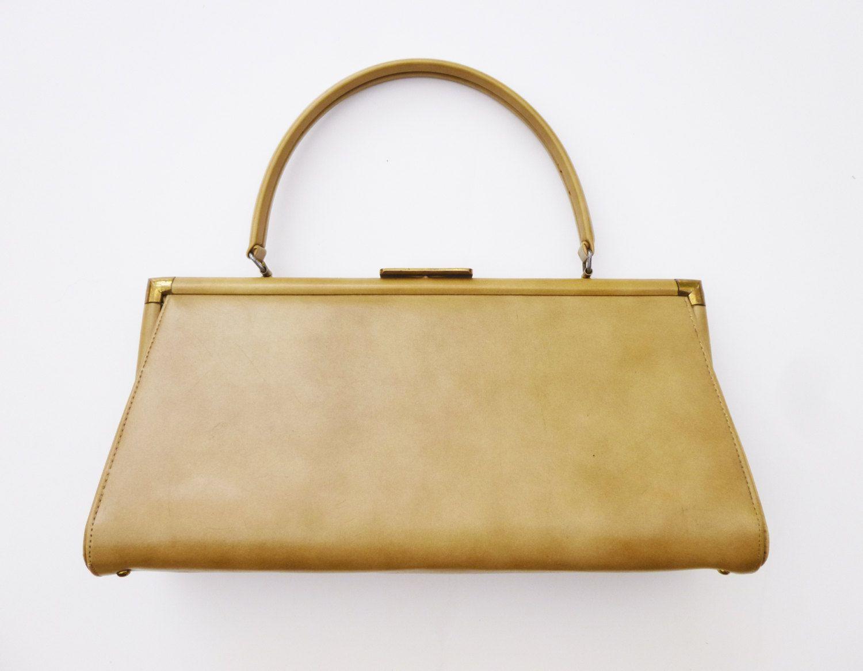 1950s ochre vinyl hand bag by theodor of california etsy