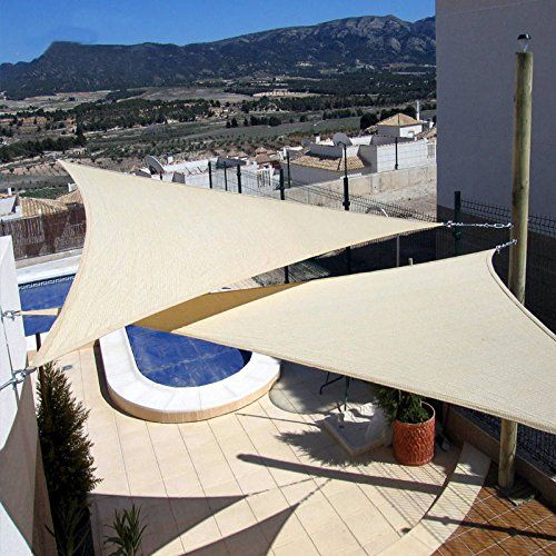 New Triangle Beige Sun Shade Sail 3-3-3 Meter Material Polyethylene UV Protection : triangle canopy outdoor - memphite.com