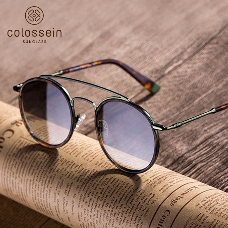 c8f9e5996d COLOSSEIN Round Sunglasses Women Retro Glasses UV400 Fashion Sunglasses  Double Nose Bridge Metal Acetate Frame Eyewear Tortoise