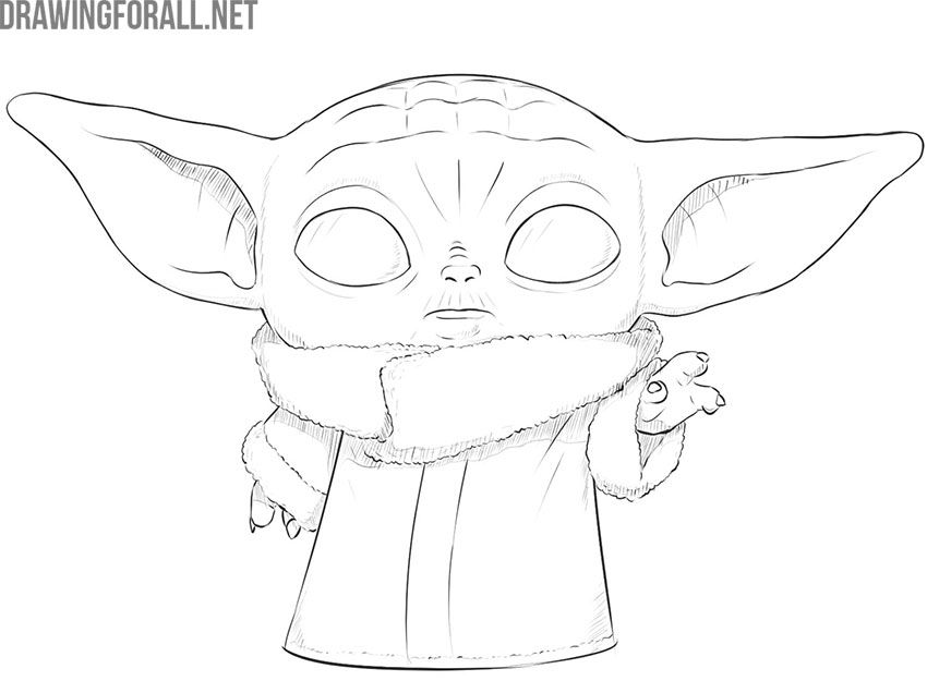 how to draw baby yoda the child  drawingforall