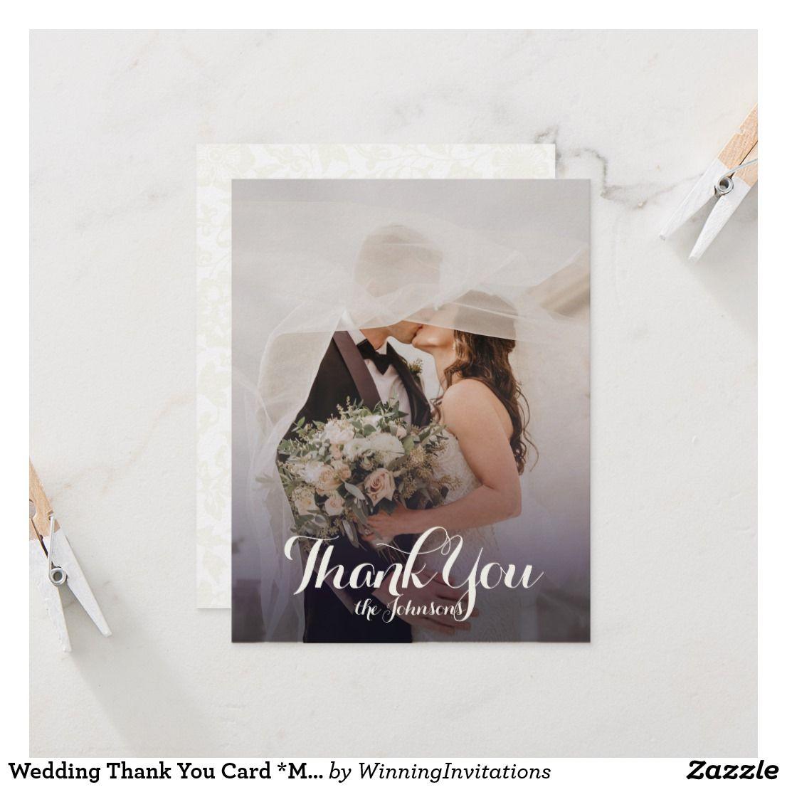 Wedding Thank You Card Modern Classic Zazzle Wedding
