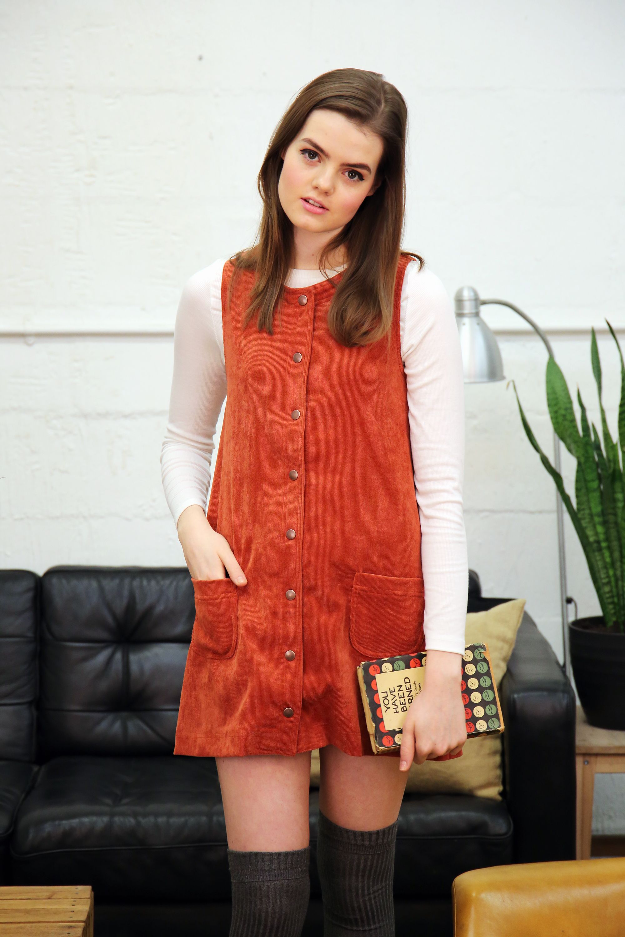 Love this color twiggy burnt orange corduroy pinafore with copper