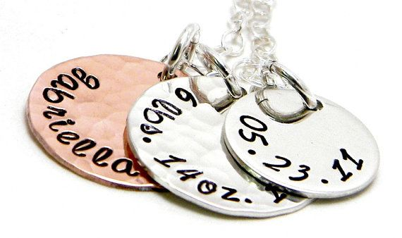 Precious Newborn- Personalized sterling silver and copper hand stamped necklace by Silver Impressions
