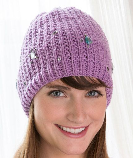 Bling Beanie Free Knitting Pattern from Red Heart Yarns | New, New ...