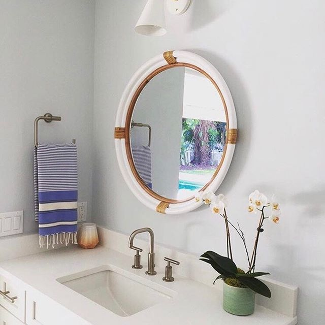Sunny Coastal Bathroom Design By Charlotte Osterman Including Our Tilt Cone Light Sconce In White And