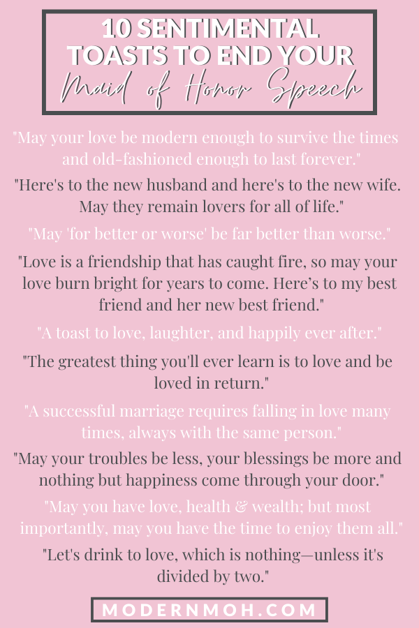 35 Maid Of Honor Speech Quotes To Enhance Your Toast In 2020 Maid Of Honor Speech Matron Of Honor Speech Best Friend Wedding Speech