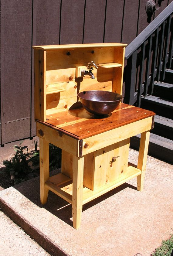 Custom cedar potting bench water station outdoor kitchen for Outdoor kitchen counter with sink