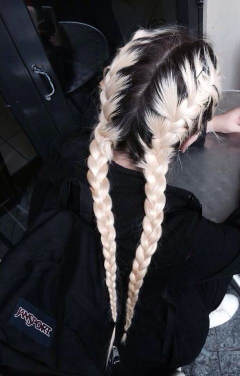 Black Roots And White Hair Braided Colors Ideas