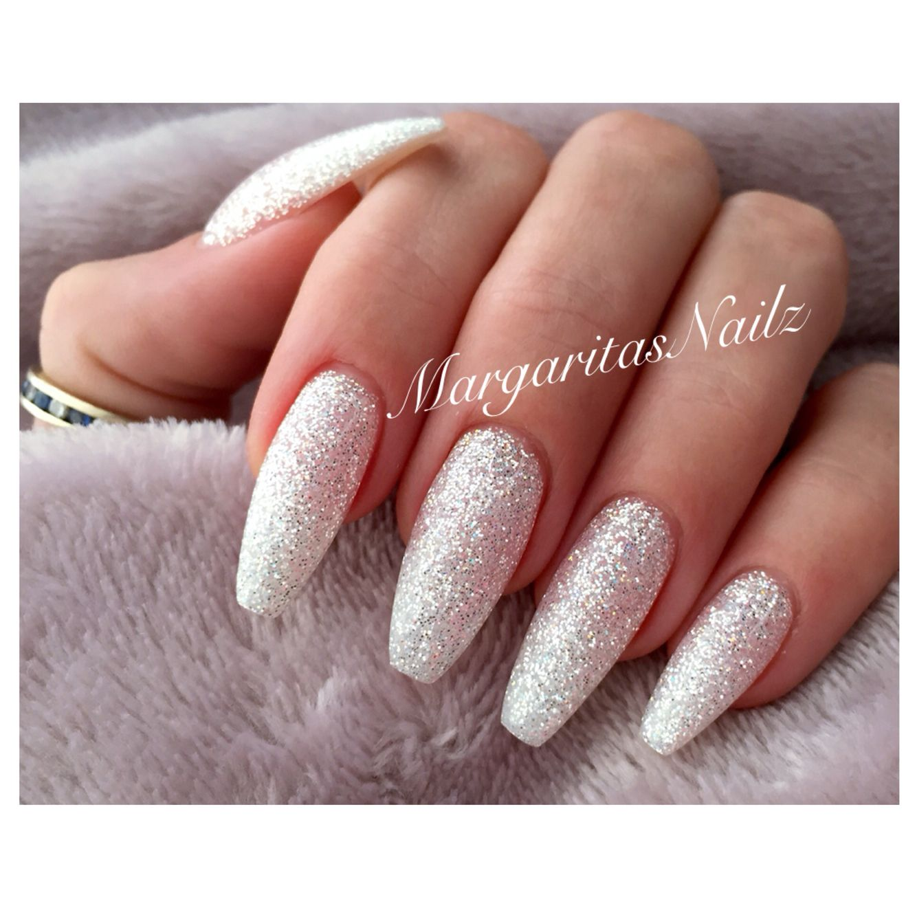 Diamond glitter long coffin nails. Long nails make your ...