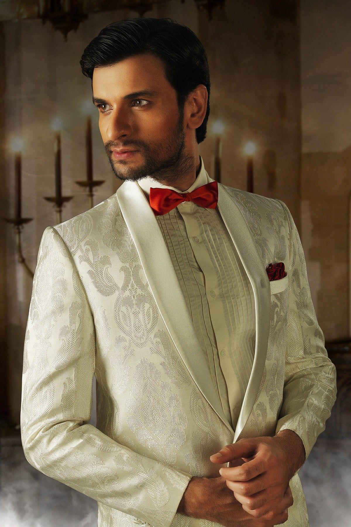 Cream colour Indian designer Men\'s reception suit online shopping ...