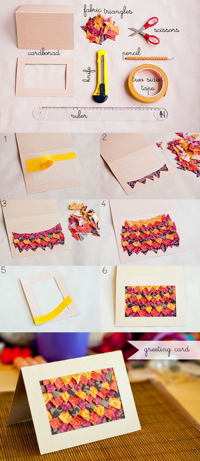 greeting card decorated with fabric triangles