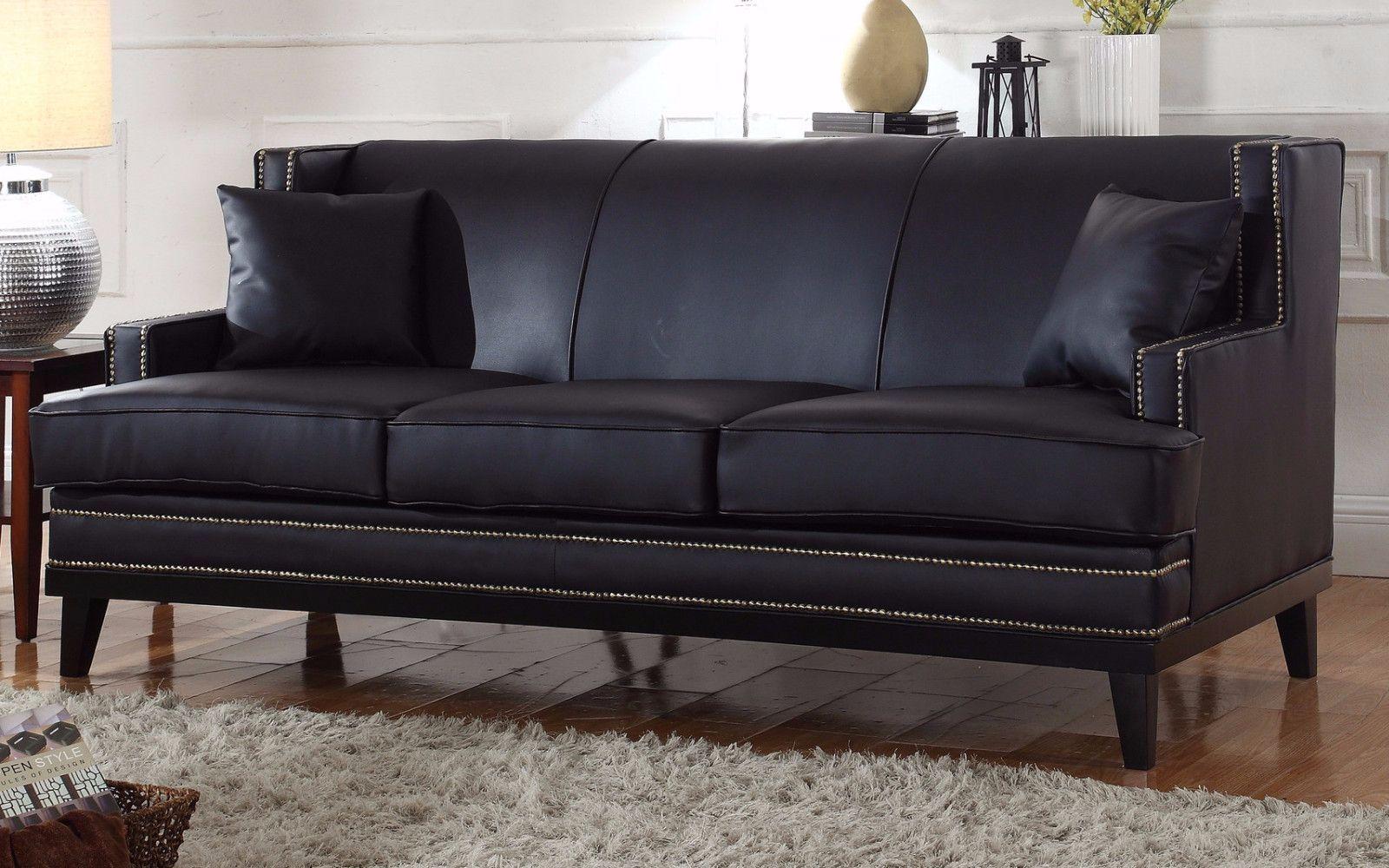 Black Leather Sofa With Nailheads Motion Martin Abe Modern Nailhead Trim Bonded Home