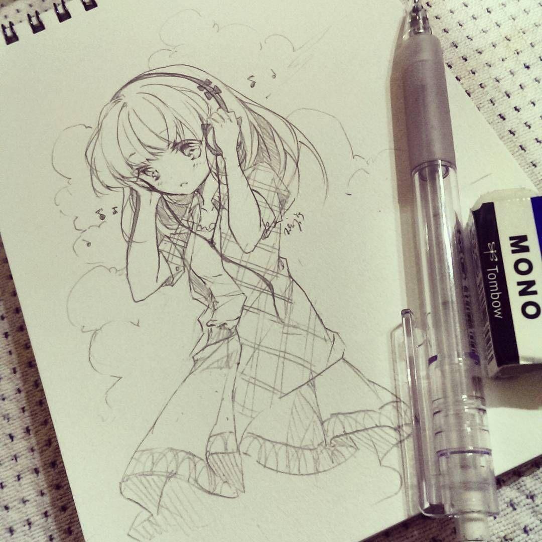 Really cute like the headphones and hair really cute like the headphones and hair pencil drawings anime