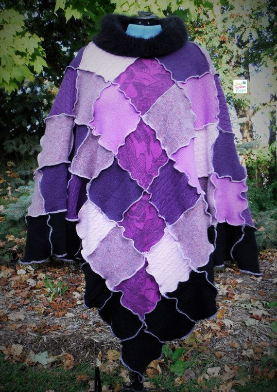 Purple And Black Poncho And Arm Warmer Set. by SewFreakinHappy