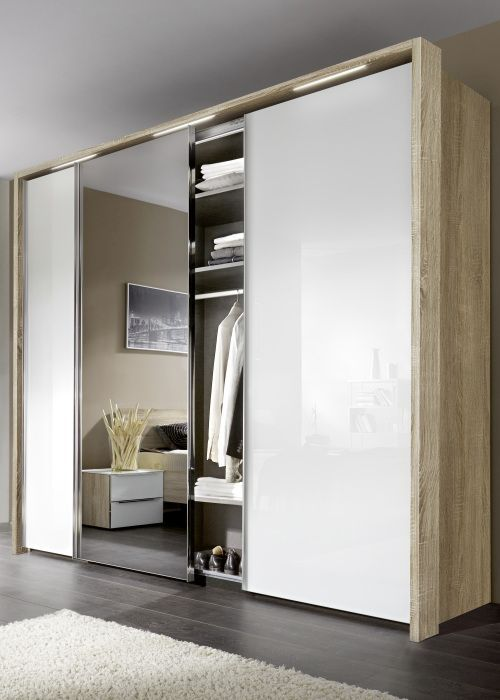 Fancy Nolte Evena Glass and Grey Mirror Doors Sliding Wardrobe