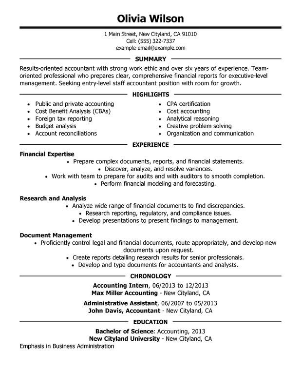 Staff Accountant Resume Sample Jobs Pinterest Sample resume - resume for accounting internship