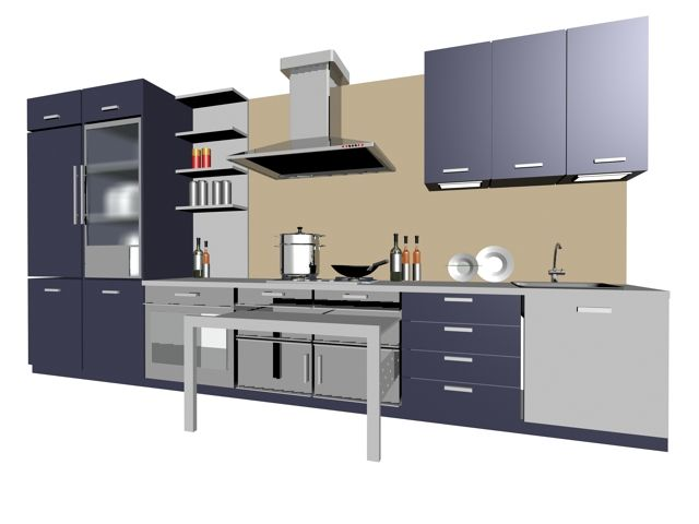 Single Line Kitchen Cabinet 3d Model