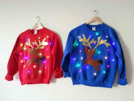 Come Through LIT Christmas Reindeer Lights Ugly Youth Kids Sweatshirt